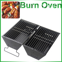 Wholesale Folding Burn Oven Double Use Grill Field Charcoal Burning Rack Black