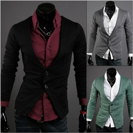 Wholesale Factory Outlet men s V neck two buckle Slim long sleeve cardigan sweater men s Knitwear