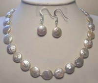 Wholesale Genuine mm Cultured Coin Pearl Necklace Earrings Set