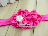 Wholesale 4 quot Satin Ruffled Flowers With Five Pearl Rhinestone On FOE headbands QueenBaby