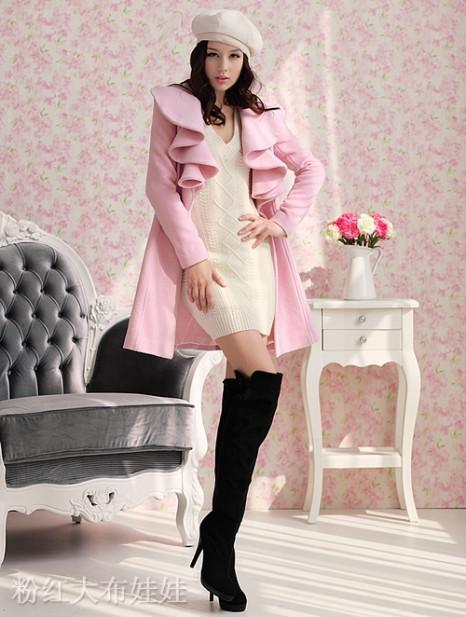 2014 Winter Women Pink Black Coat Fit And Flare Wool Outfit ...