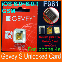 Wholesale Real F981 Chip GEVEY ULTRA S Unlock sim card for iphone s ios BB3 GSM reset sim