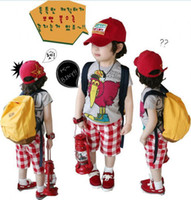 3-7years turkey - children Summer boys cute turkey pattern t shirt plaid pants suit set dandys