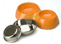 Wholesale Super melamine dual stainless steel slip resistant bowl double food bowl pet food bowl dog bowl cat bowl