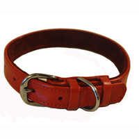 Wholesale Classic red genuine leather collar pet collar collapsibility quality excellent