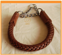 Wholesale Dog pet collar dog ring genuine leather dog chain dog