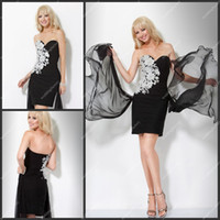 Wholesale Appliqued Cocktail Dresses Mini Length Elastic Satin Sweetheart Ruffled Dresses with Chiffon Ribbons