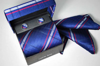 Blue silk tie and handkerchief - 20pcs Brand new Men s tie ties Necktie With Handkerchief Cuff Button and box Silk