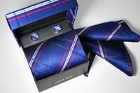 silk tie and handkerchief - 20pcs Brand new Men s tie ties Necktie With Handkerchief Cuff Button and box Silk
