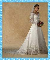 Wholesale 2013 Hot Sale Wedding Dress A line V neck Long Sleeves Lace Court Ivory Satin Bridal Dresses