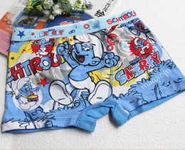 Wholesale Boys Underwear The Smurfs Kids Underpants Panties Shorts Pants Colorful Cartoon Style Cotton