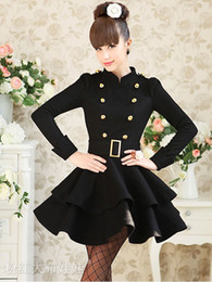 Wholesale Top sexy elegant women coat mandarin collar double breasted belted wool fit and flare winter black