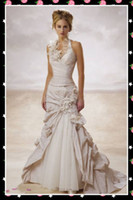 Wholesale 2010 Sexy white taffeta mermaid court train ruffles halter Wedding Dresses