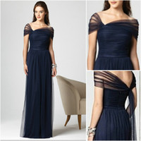 Wholesale New Arrival Dark Navy Bridesmaid Dresses Stretch Tulle Cap Sleeves Full Length Pleated Dessy