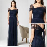 Новое прибытие Тёмно-синий невесты платья Stretch тюль Cap рукава Полная длина плиссе Dessy 2847