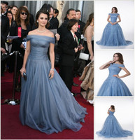 Wholesale 2012 Golden Globe Penelope Cruz A line Off Shoulder Ruffles Organza Celebrity Dresses DH003737
