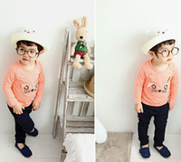Wholesale retail baby cat suit boys girls t shirt pants casual garment children spring autumn clothing set