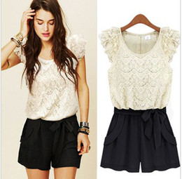 Wholesale 2012 lace ruffle sleeve jumpsuits overall women shorts women jumpsuits SIZE S M L XL colour