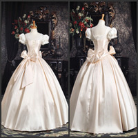 Wholesale New Arrival Hot Sale Custom Made Euro Style Puff Sleeves Bow Decoration Royal Fashion Wedding Dress