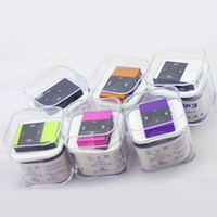 Wholesale FreeDHL Black Diamond Mini Clip metal Clip MP3 player with TF Slot MP3 USB Earphone Box