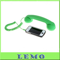 Wholesale Phone Headset Green Color Retro POP Phone Handset for iPhone HTC Samsung PC Mac