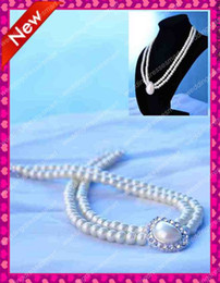 Wholesale Elegant Pearl Necklace Double Line Diamond Shape Bridal Wedding Accessories Jewelry