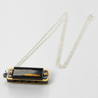 Wholesale Kid s Harmonica Necklace Harmonica Hole Tone Mini Black Ship From USA Y00475