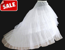 Wholesale Cheap Medium Size White Bridal Crinoline Chapel Court Train Wedding Dress Petticoat Petticoats