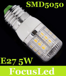 New Brand E27 5W Led Corn Light Bulb Lamp With Cover 27 SMD 5050 Pure Warm White Led Light 230V