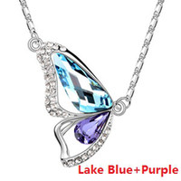 Wholesale Silver Tone Glass Crystal Glitter Butterfly Pendant Necklaces Fashion Crystal Jewelry P230