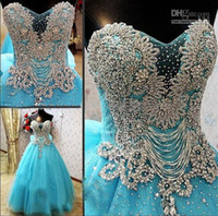 Wholesale Coloured Organza Wedding Dress - New Arrival Strapless Luxury Crystals Blue Colour Cathedral Train Wedding Dress 2015 Bridal Gown WD159