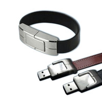 Leather usb wristband - Genuuine Full GB GB GB Factory outlet Leather Bracelet amp wristband USB flash disk novelty