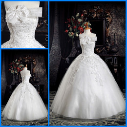 Wholesale 2012 Best Selling Bow Lace Applique Beading Fashion Popular Balll Gown Wedding Dresses