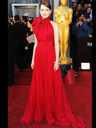 Wholesale 2015 Oscar Awards Emma Stone Sexy High Neck Bowknot Floor Length Red Chiffon Celebrity Dresses BO5070