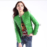 Wholesale New Winter Fashion Women s Candy Color O neck Short Down Jacket Colors Size S XXL