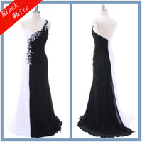 Real Photos one shoulder black evening dress - 2013 New One Shoulder Sheath Applique Beads Ruffle Black And White Prom Dress Sexy Evening Dress