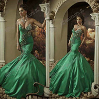 Wholesale 2015 New Arrival Mermaid Classic Beautiful Embroidery Beaded Crystal Handwork Evening Dresses Prom Dress With Lace Up ED160