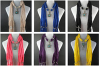 Wholesale 2012 Natural Stone Pendant Winter Scarf Jewelry Scarves Necklace Mix Color Scarves Freeshipping