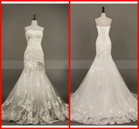 Wholesale Sexy Elegant Mermaid Trumpet Sweetheart Court Train Applique Open Rhinestone Wedding Dresses DH400