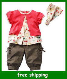 Wholesale Girls three piece Short sleeve blouse pants and Head decorations baby girl suit gifts