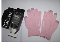 Wholesale 20 Pairs iGlove Touch Screen Gloves with High Grade Box Unisex for Phone Touch Gloves Pink amp Black