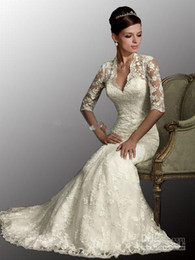 Wholesale 2013 Sexy White Dresses V Neck Sleeves Mermaid Lace Tulle Bolero Winter Wedding Dresses AB8900
