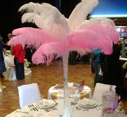 Wholesale 24 quot Long Ostrich Feather Pageant Wedding Party Feathers Stage Dress Vases DIY White Black Pink Blue