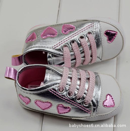 Wholesale 6 pairs free shiping Prewalker shoes baby girl Lace up Silver shoes m61