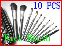 Goat Hair Woody Foundation New Professional Cosmetic Tool 10 Piece Black Makeup Brush Set Kit With Box.