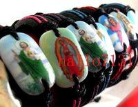job lots - New Hot Leather Jesus Saints Catholic Bracelets wristband Jesus job