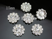 Wholesale 50pcs mm Rosette Button Alloy Full Of Crystal Button Spark Rhinestone Buttons accessories GZ