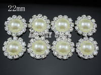 Wholesale 50pcs mm Pearl Simplicity Large Button Bling Pearl Button Alloy Metal Buttons RhinestoneGZ002