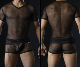 Wholesale sexy gauze big mesh tight fitting male sets gay nylon see through mens net fabric T shirts