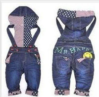 Wholesale cartoon smiley overalls suspender trousers baby denim trousers girl casual long pants jeans jumpsuit
